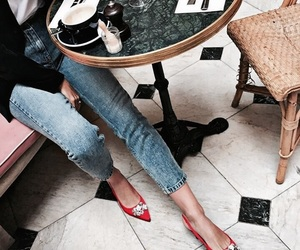 fashion, jeans, and red image