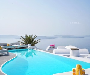 beach, paradise, and pool image