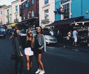 best friends, city, and fashion image