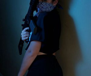 girl, gun, and bandana image