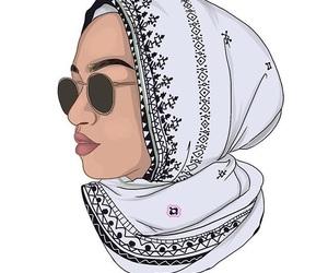 art, glasses, and hijab image