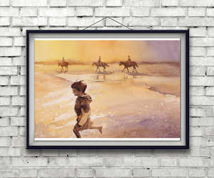 beach art, wall art, and watercolor painting image