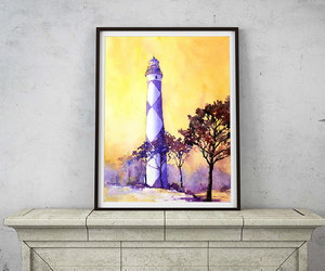 etsy, watercolor landscape, and lighthouse image