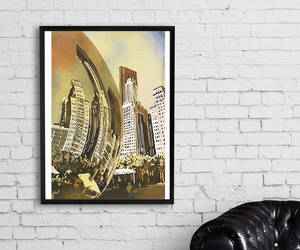 chicago, watercolor print, and etsy image