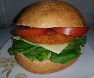 spinach, tomato, and vegan cheese image