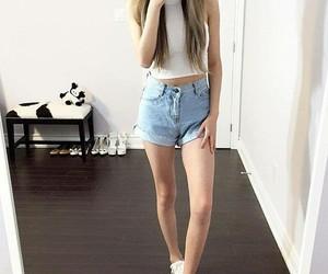 comfy, jean shorts, and kicks image