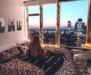 light, bedroom, and city image