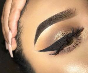 eye liner, nails, and eyebrows image