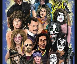 Black Sabbath, bob marley, and Freddie Mercury image