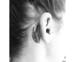 blackandwhite, ear, and Piercings image