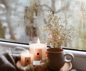 candle, autumn, and rain image