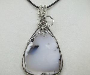 wire wrapped, white pendant, and opal pendant image