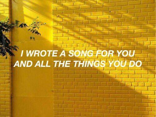 yellow, coldplay, and Lyrics image