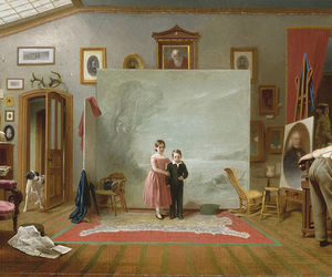 art, lady, and painting image
