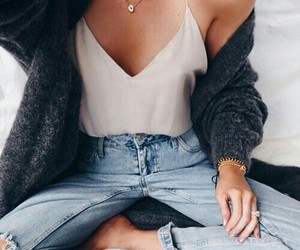 cardigan, denim, and girly image