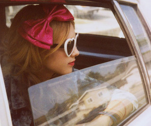 girl, car, and bow image