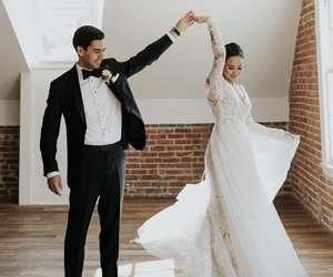 bride, dancing, and white image