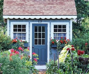 architecture, blue, and cottage image