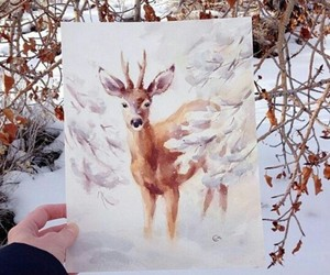 art, deer, and snow image
