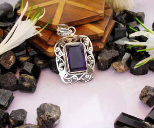 pendant necklace, amethyst necklace, and silver pendant image