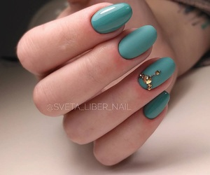 beauty, nails, and turquoise image
