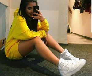 rose, mirror selfie, and yellow hoodie image