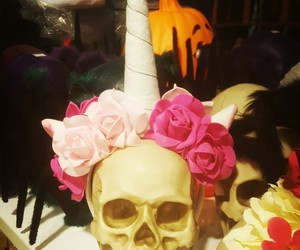 flowers, Halloween, and skull image
