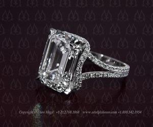 engagement ring, emerald cut diamond, and leon mege image