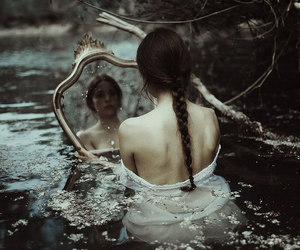 mirror, water, and dark image
