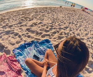 beach, girl, and glasses image