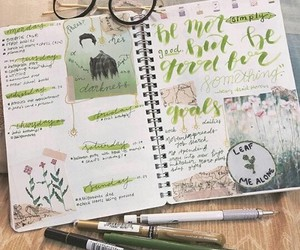 book, diary, and green image