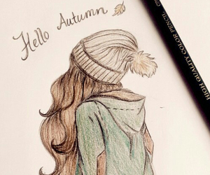 girl, drawing, and autumn image