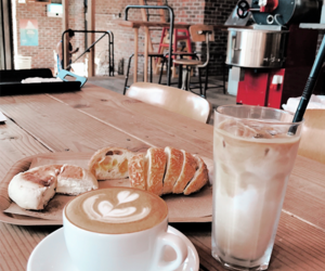 bread, brown, and coffee image