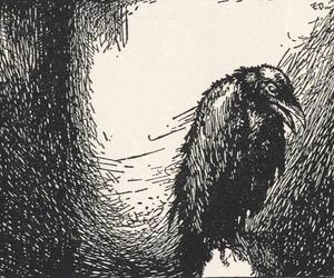 art, crow, and print image