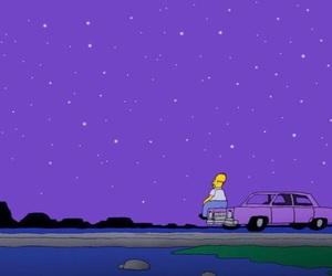 night, stars, and the simpsons image