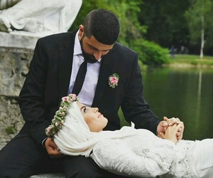 hijab, muslim couples, and wedding image