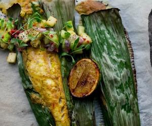 banana leaf, grill, and malaysian food image