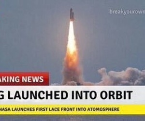 meme, rocket ship, and wig image
