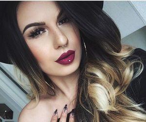 black hair, blonde hair, and septum piercing image