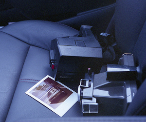 car, instant film, and instant camera image