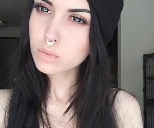 beanie, black hair, and fashion image