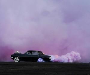 car, purple, and smoke image