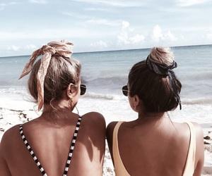 girls, beach, and hair image