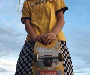 yellow, girl, and skateboard image