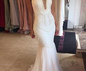 beaded, dress, and wedding image