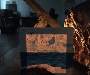 art, candle, and ocean image
