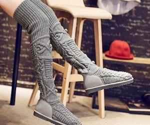 fashion, thigh high, and grey image