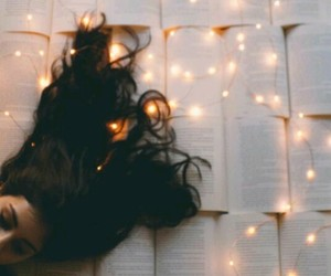 lights, books, and girl image