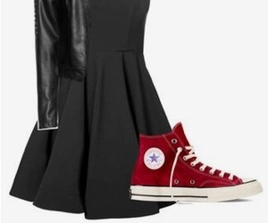 black, black dress, and converse image