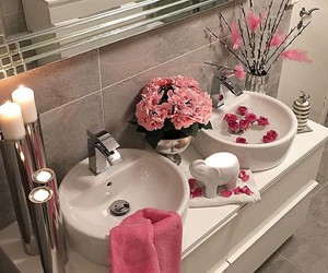 bathroom, flowers, and home image